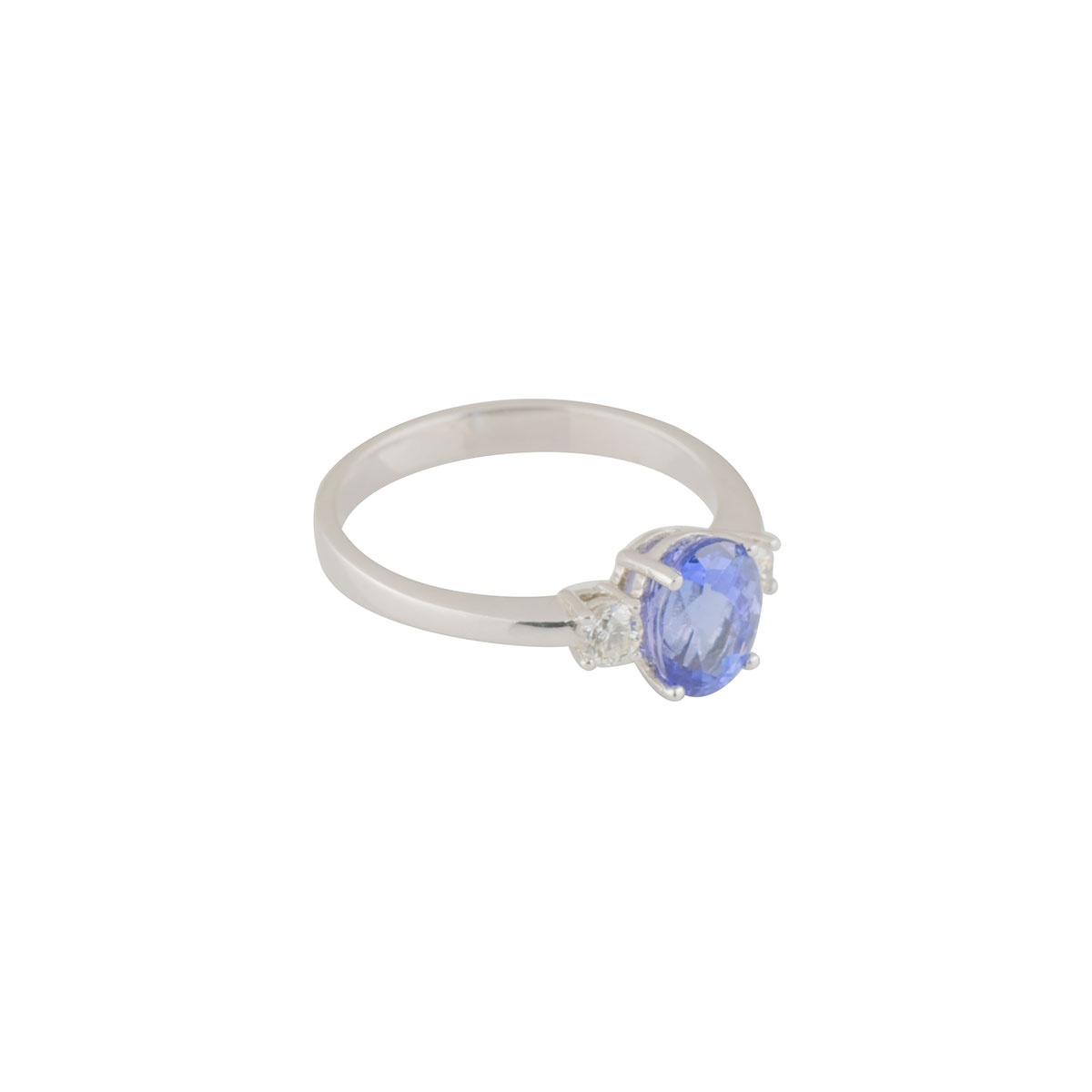 White Diamond and Tanzanite Ring
